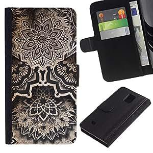 Billetera de Cuero Caso Titular de la tarjeta Carcasa Funda para Samsung Galaxy Note 4 SM-N910 / Vintage Tribal Native Tattoo Ink / STRONG