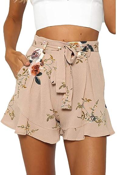Sumen Women Hot Shorts Summer Floral Shorts Elastic Waist Yoga Workout Shorts Pineapple Print Tassels Hem Shorts