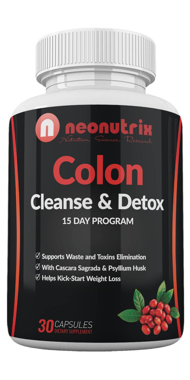 Neonutrix Cleanse & Colon Detox Capsules Dietary Supplement for Men and Women, 15 Day Program, Extra Strength for Toxin Elimination, Promotes Healthy Bowel Movement, Made in USA, 30 Capsules