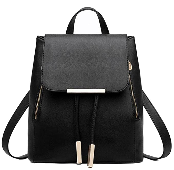Motop For Women Leather Backpacks Schoolbags Travel Shoulder Bag Mochila Feminina (Black)