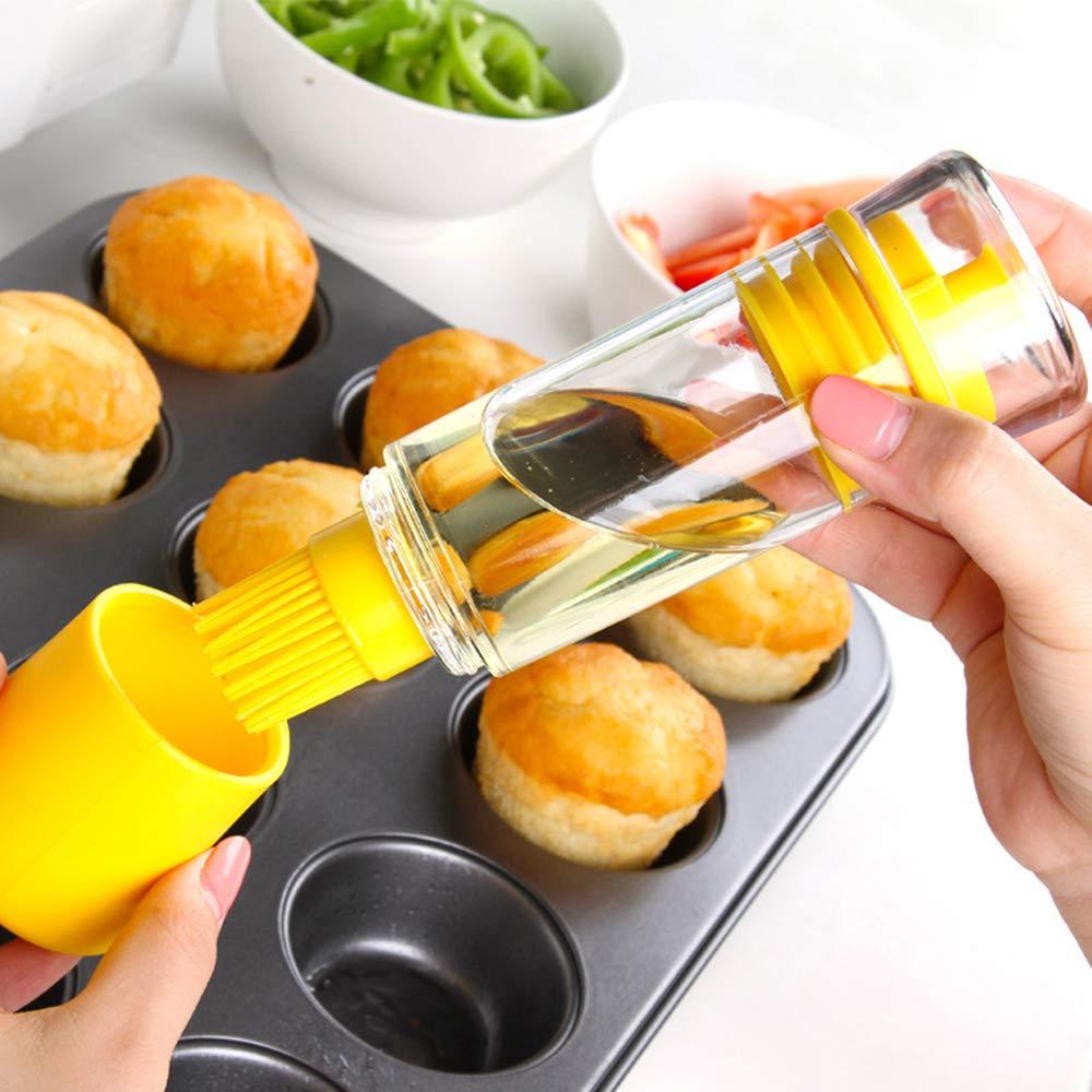 NUANNUAN 2 Pack Cepillos de Silicona para Barbacoas Ahumadores Cocina Aceite Botella Salsa a Prueba de Fugas Alta Temperatura para Hornear Hilvanado ...