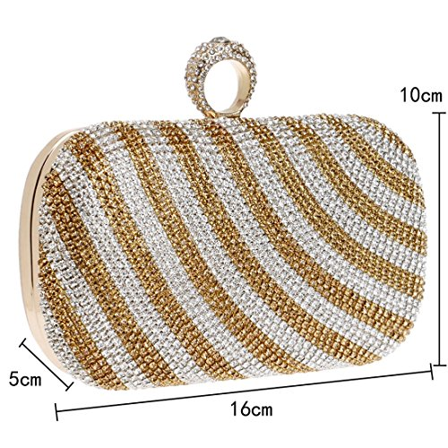 sera da donna New sera colori Vola Bag Gradient Messenger Sweet a Borsa a tracolla Colore da da Borsa Lady Oro Clutch Striped Borsa squisita oro q6O1xdXwO