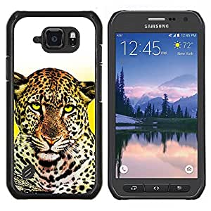 TECHCASE---Cubierta de la caja de protección para la piel dura ** Samsung Galaxy S6 Active G890A ** --Animal Leopard felina Amarillo Blanco Limpio