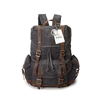 Yoome Canvas Backpack Vintage Leather Backpack Hiking Daypacks Computers Laptop  Backpacks Unisex Casual Rucksack Satchel Bookbag Mountaineering Bag for Men  ... 83e1f0210531a