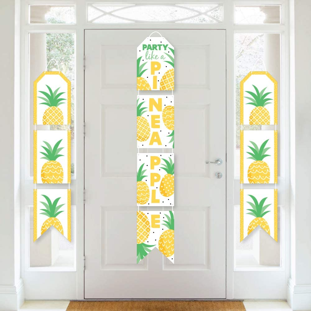 Big Dot of Happiness Tropical Pineapple - Hanging Vertical Paper Door Banners - Summer Party Wall Decoration Kit - Indoor Door Decor