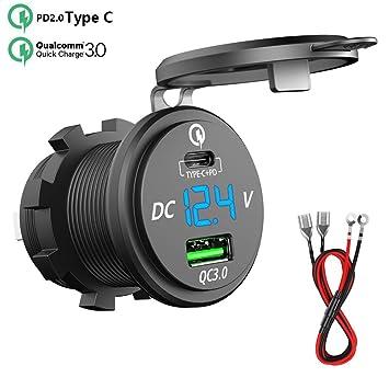 SONRU PD Tipo C USB Conector Cargador de Coche Impermeable, QC 3.0 64W Dual USB con voltímetro LED con Fusible de 10 A a Prueba de Polvo para Coche ...