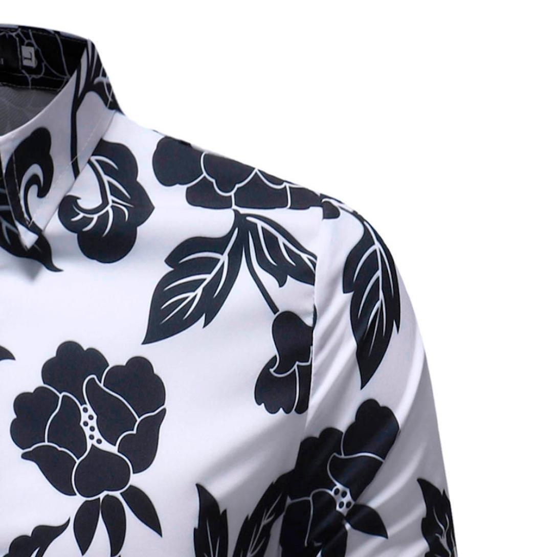 iLXHD Man Fashion Printed Blouse Casual Long Sleeve Slim Shirts Tops (2XL, Multicolor 9) by iLXHD (Image #4)