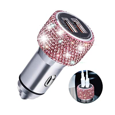 Quick Charge Car Charger, SAVORI QC3.0 Dual USB Car Adapter Bling Rhinestones Crystal Fast Charging Car Decors Compatible for iPhone Xs Max XR X Plus, iPad Pro/Air 2/Mini, Samsung Galaxy (Pink): Home Audio & Theater