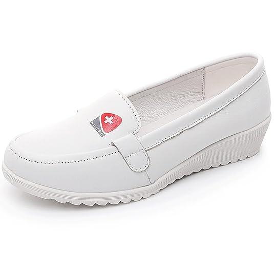 Shenn Mujer Cuña Comodidad Ponerse Enfermera Cuero Zapatos H3355: Amazon.es: Zapatos y complementos