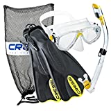 Cressi Palau Mask Fin Snorkel Set with Snorkeling Gear Bag, Yellow, M/L | (Men's 7-10) (Women's 8-11)