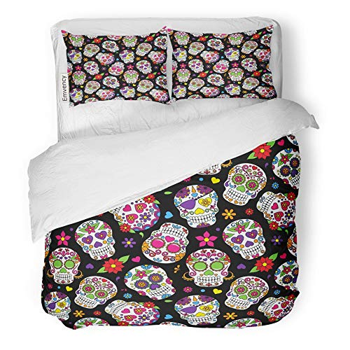 Emvency 3 Piece Duvet Cover Set Brushed Microfiber Fabric Breathable Day Sugar Skull Dead Pattern Dia Los Mexican Bedding Set with 2 Pillow Covers Twin Size