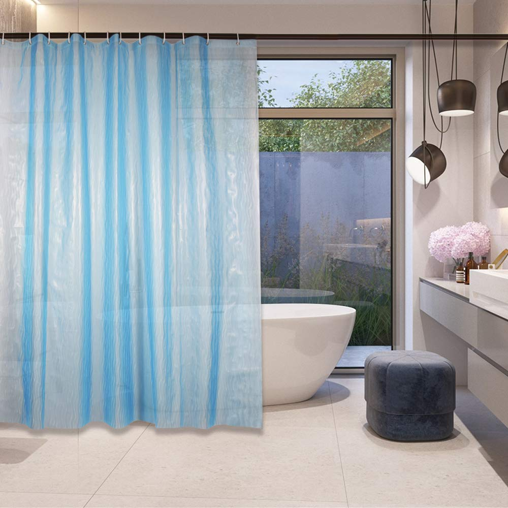 AFFLLA Spa Shower Curtains 72x78 Thick 3D Translucent Clear Shower Curtain Liner Bathroom Blue Waterproof Plastic Bathtub Curtains Odorless with 12 Hooks Bath Cap