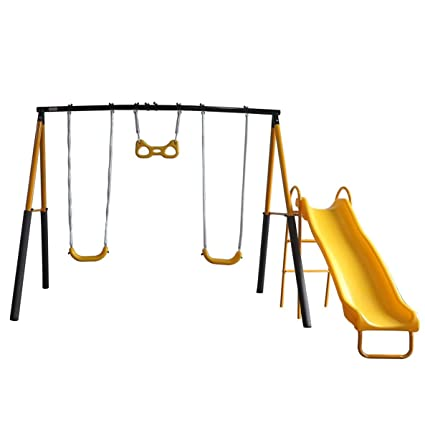 Yongcunsho Childrenu0027s Garden Swing Outdoor Childrenu0027s Swing Set Outdoor  Toys 2 Swings 1 Trapeze ...