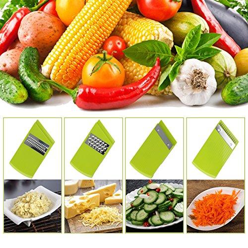 Adjustable Mandoline Food Slicer - 4 Blades - Vegetable Cutter, Cheese Grater, Julienne Vegetable Slicer & Fine Grater - Compact, Veggie Slicer Kitchen Gadget Slicer Dicer, Dishwasher Safe by Chugod (Image #4)