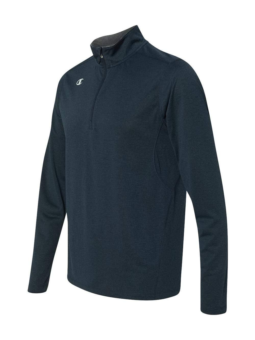 Champion Men's Quarter-Zip Double Dry Pullover, Navy Heather, Medium by Champion