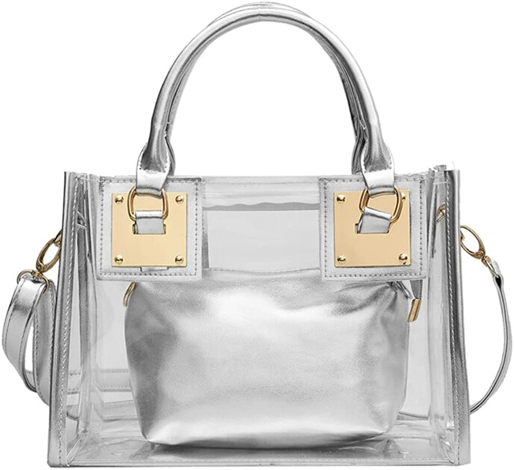 OULII 2Pcs//Set Crossbody Bag Casual Satchel Transparent Tote Bag Shoulder Handbag for Women Ladies Silver
