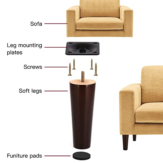 Amazon.com: Patas de madera de 6.0 in para muebles con ...