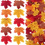 Zhanmai 600 Pieces Artificial Maple Leaves Fall Leaves Assorted Mix Deep Fall Colored Maple Leaf for Wedding Garden Decorations