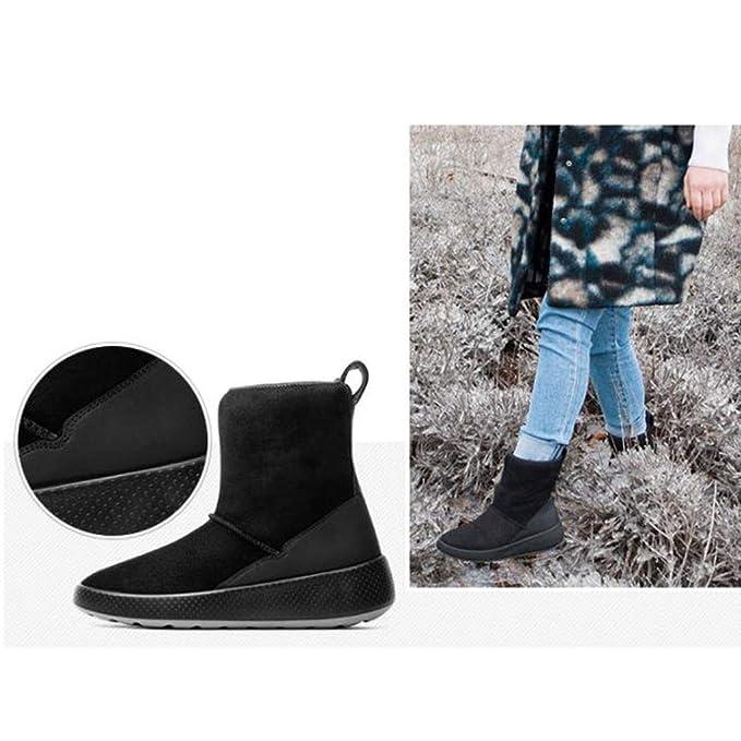 Botas cálidas de Invierno para Mujer Piel una Botas de Nieve para Mujer Zapatos para Caminar Impermeables Zapatos Ocasionales Antideslizantes Calzado (Color ...