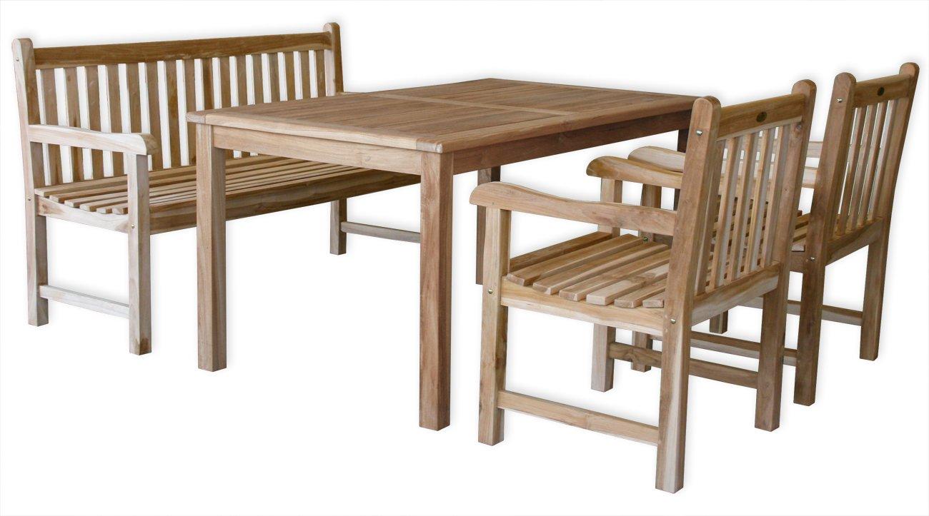 KMH®, Gartensitzgruppe Classic mit 150 cm langem Tisch für 5 Personen (ECHT TEAK) (#102203)