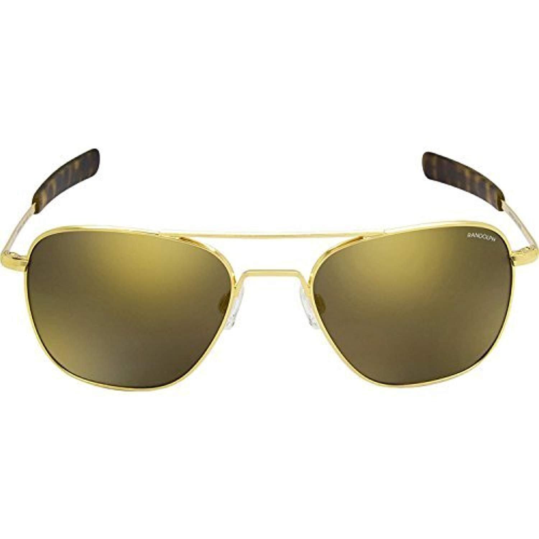 2be1e7c963a Amazon.com  Randolph Aviator 23K Gold Bayonet Temple Glass Gold Flash  Mirror Non-Polarized Sunglasses  Clothing
