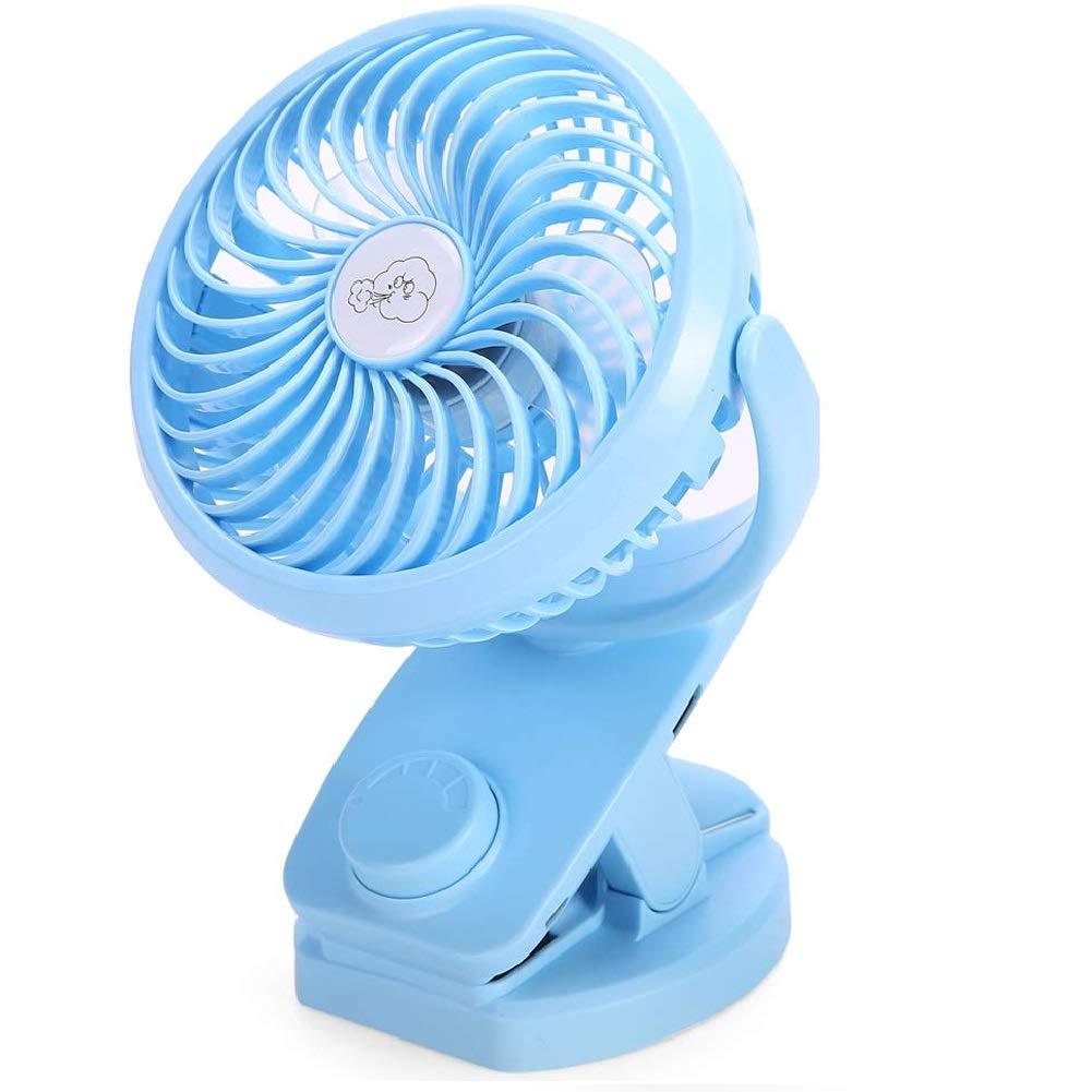 AUSEIN Ventilateur à Pince,Mini Ventilateur de Bureau avec Batterie Rechargeable, Ventilateur USB Silencieux à Rotation sur 360 ° pour la Maison, Les Voyages et Le Bureau (Bleu)
