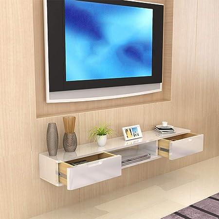 LXYFMS Mueble de Estante para televisor montado en la Pared Estante de Juegos de Consola de Entretenimiento Multimedia con cajones para el hogar Bastidor de enrutador: Amazon.es: Hogar