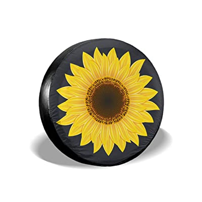 """Jackmen Spare Tire Cover Sunflower Polyester Universal Sunscreen Waterproof Wheel Covers for Jeep Trailer RV SUV Truck and Many Vehicles (14\"""" 15\"""" 16\"""" 17\""""): Clothing [5Bkhe0901078]"""
