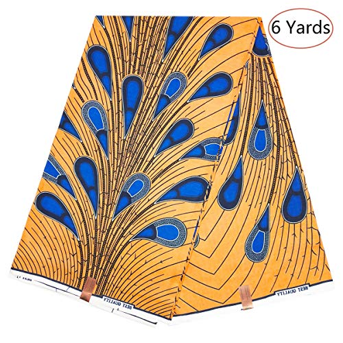 Dexuelan 6 Yards Ankara Print Fabric African Wax Print Fabric with Feather Designs for Sewing Dress Clothing Designs (Yellow and Dark Blue)