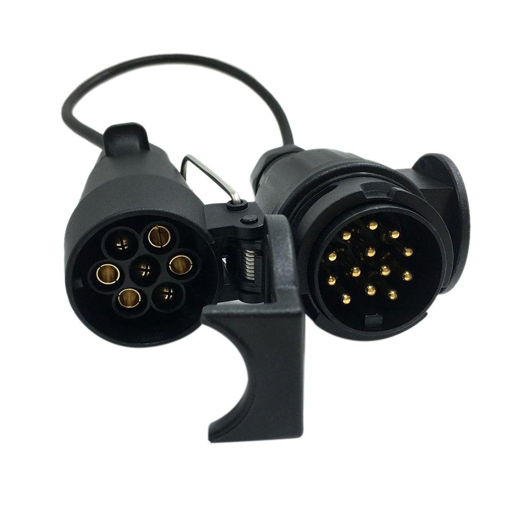 KKmoon 12V 7-13 Pin Trailer con Cavo Adattatore Connettore Cablaggio Barra di Rimorchio Spina /& Presa