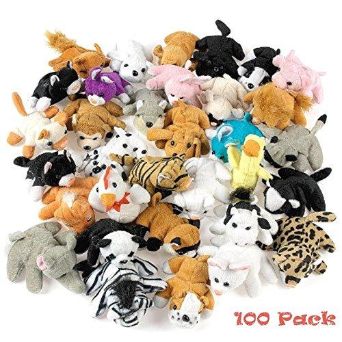 Plush Mini Bean Bag Animal Assortment 100 Pieces ()