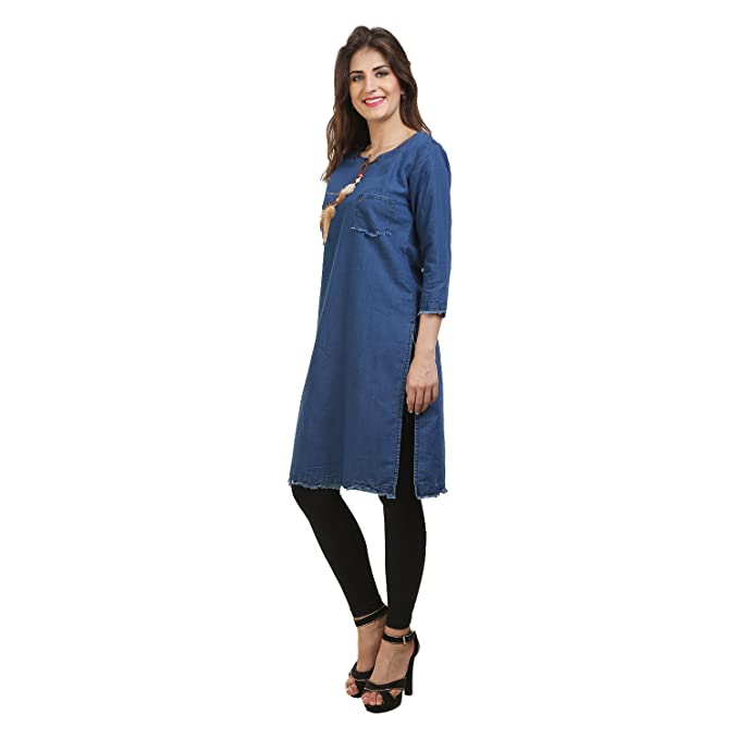 fee96f71105 FRANCLO Women's Full length Denim Kurti: Amazon.in: Clothing ...