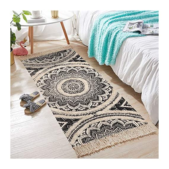 Cotton Area Rug, KIMODE Hand Chic Diamond Print Tassels Throw Rugs Door Mat Indoor Area Rugs for Bathroom,Bedroom,Living Room,Laundry Room (2' x 4.3', Mandala) - ★COTTON MATERIA: 45% Cotton+ 45% polyester+10% viscose, handmade woven rugs with extra snazzy knotted fringe tassels on each side, surface with block printed, reversible for double.(size not include tassel) ★3D TUFTED DESIGN: Hand tufted with a half inch of soft pile height which is plush underfoot yet withstands high traffic, a little tufted design with a cozy and luxurious feel. ★MANDALA AREA RUG: Decorative Moroccan pattern and throw it in your Porch, kitchen rug, bathroom rug, laundry Room,entry way rug, apartment rug, dorm room rug and more, it also can be used as a decorative tapestry to lighten your space. - runner-rugs, entryway-furniture-decor, entryway-laundry-room - 61AklpeB1hL. SS570  -