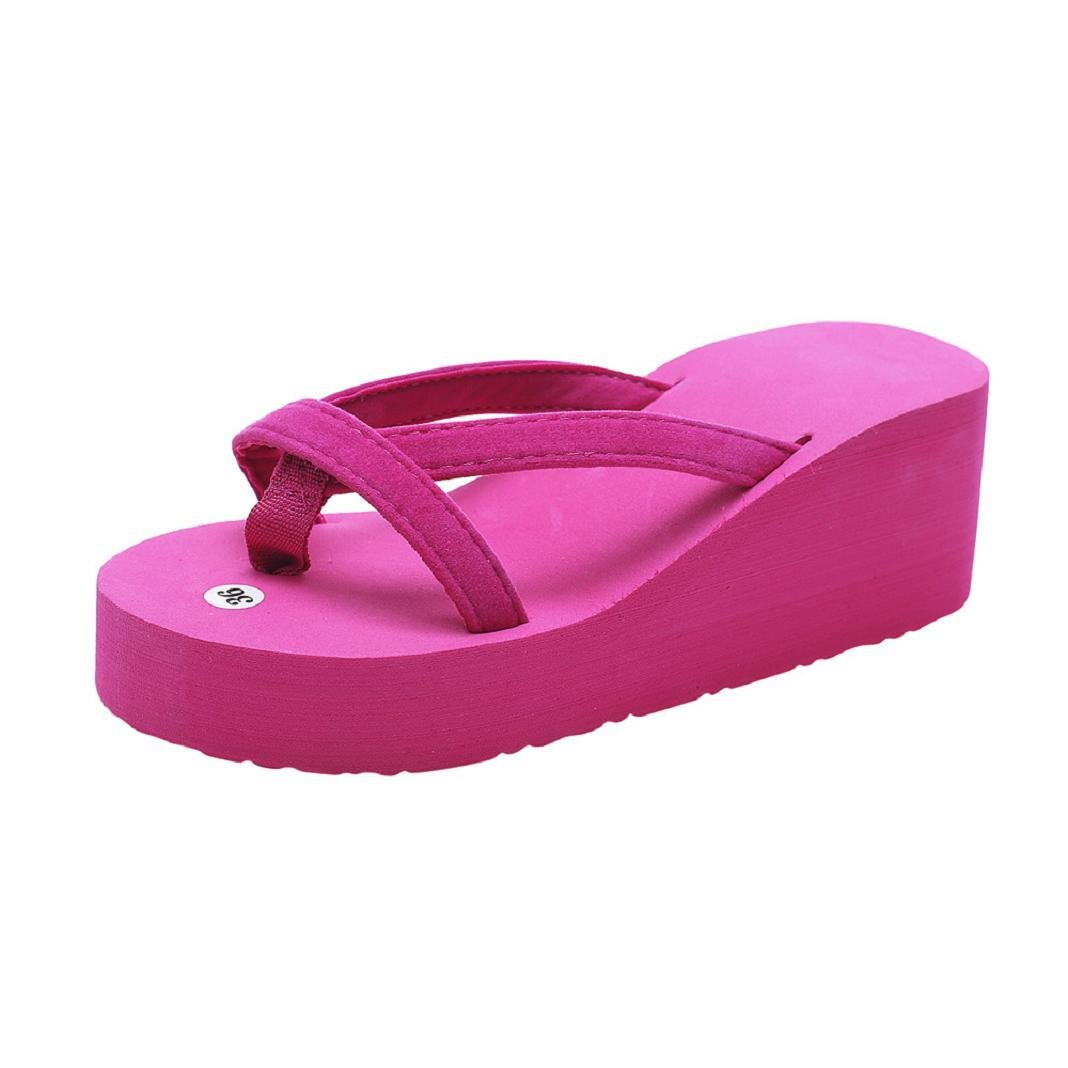 ShenPr Summer Women's Casual Solid Flip Flops Bandage Open Toe Slipper Beach Wedge Thick Sole Heeled Shoes (Hot Pink, 6.5)