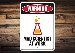 """BLESFEST Mad Scientist Sign, Warning Scientist, Crazy Scientist Sign, Science, Warning Sign Decor, Room Decor, at Work Metal Sign, Quality Metal, Aluminum Tin Plaque Wall Art Poster 12""""x8"""""""