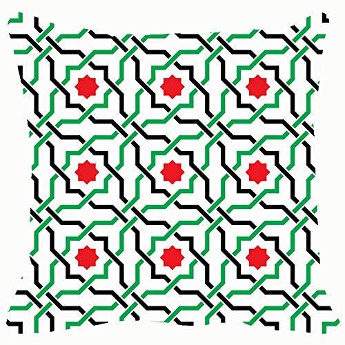 (Throw Pillow Cushion Cover, Geometric Arabic UAE Decorative Square Accent Pillow Case, 18 X 18 Inch)