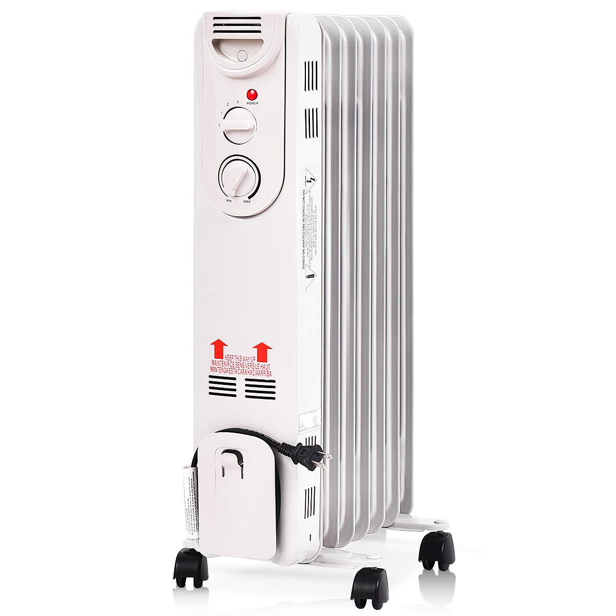 Tangkula Oil Radiator, 1500W Portable Compact Electric Space Heater