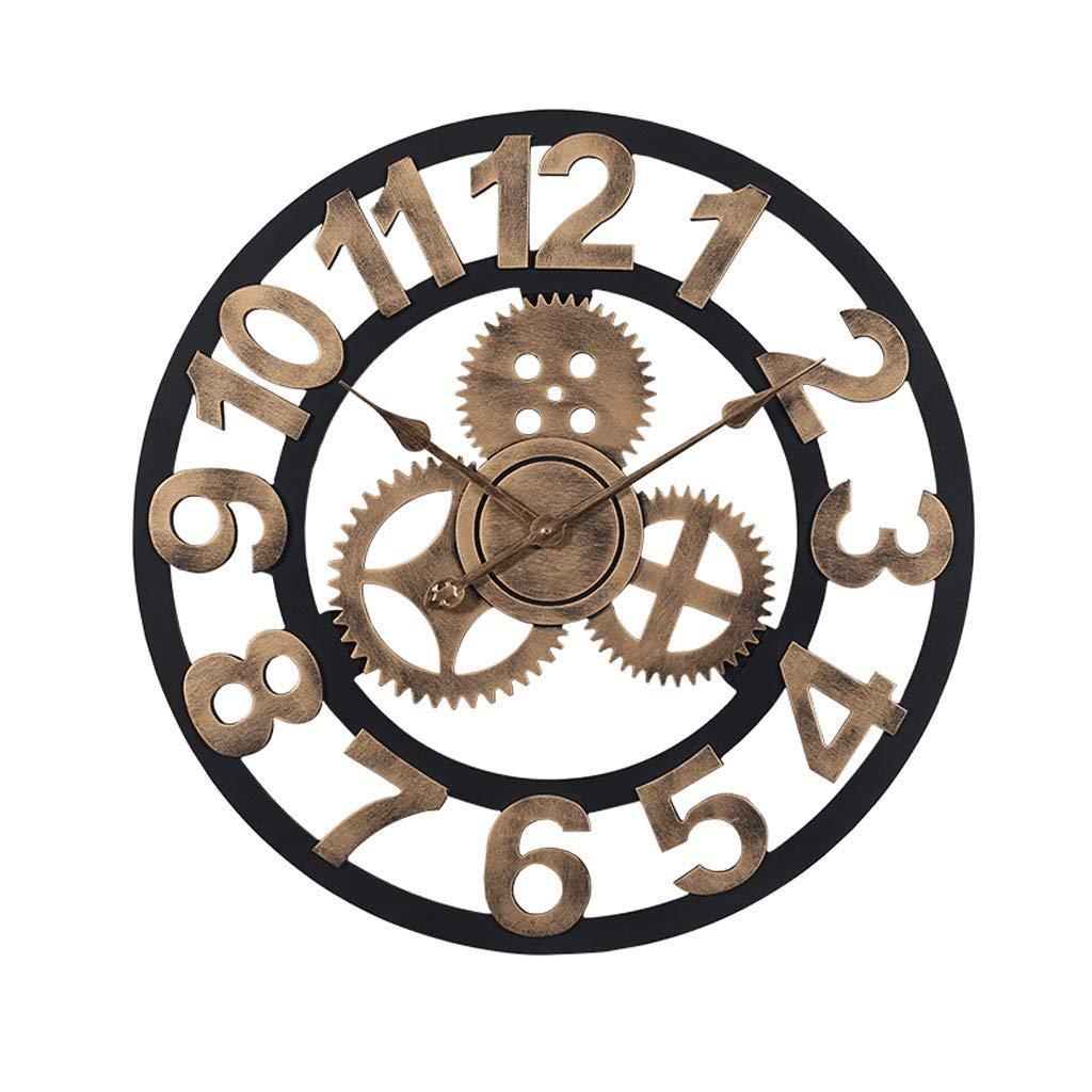 60センチ壁掛け時計3dレトロ無雑音サイレントギア大素朴な国装飾高級アート大きな木製ヴィンテージ用ハウスウォーミングギフト (色 : Golden Arabic numerals, サイズ さいず : 60 cm 60 cm) 60 cm 60 cm Golden Arabic numerals B07MCQFMGK