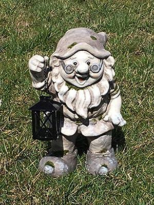 Unbekannt Figura de Enanito de jardín con farolillo, portavelas, lámpara, luz: Amazon.es: Jardín