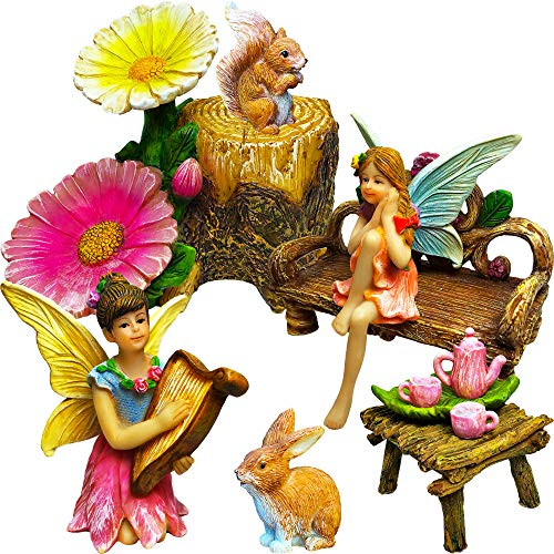 Set Garden Fairy (Mood Lab Fairy Garden - Miniature Figurines and Accessories Kit - Hand Painted Fairy Garden Set of 11 pcs for Outdoor or House Decor)