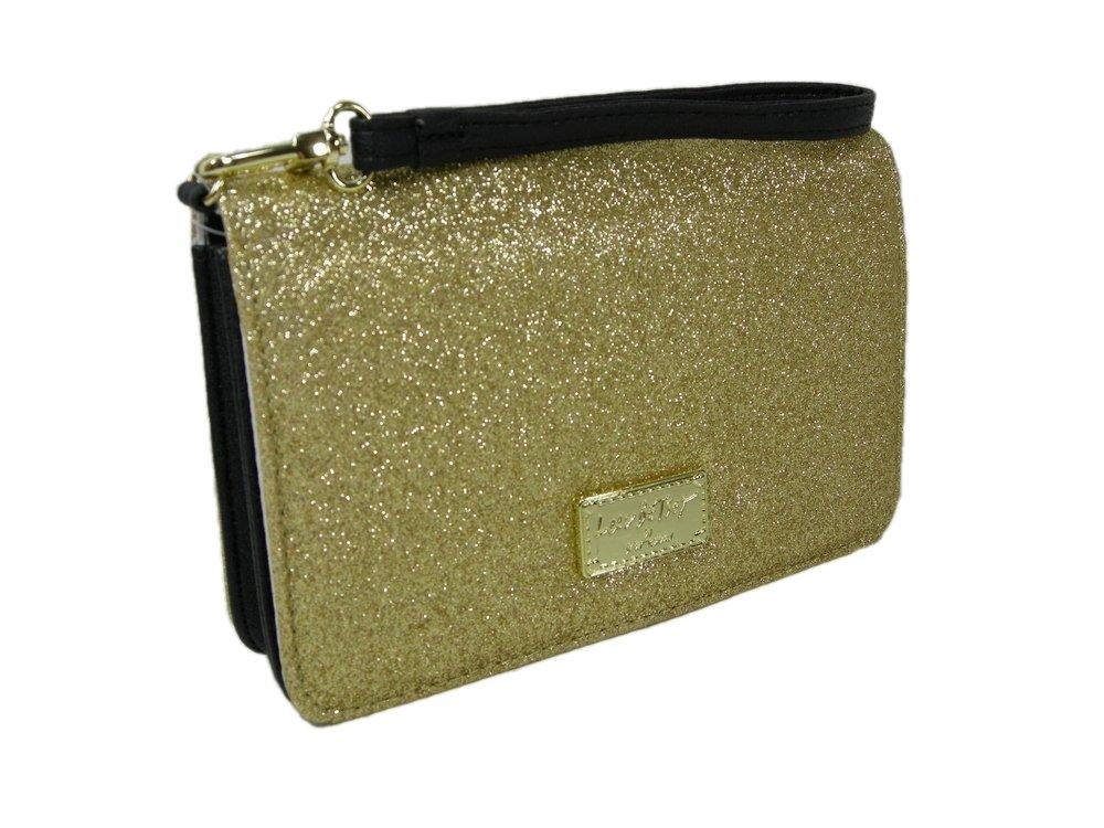 New Betsey Johnson Logo Wristlet Purse Hand Bag Gold Glitter Party Wedding