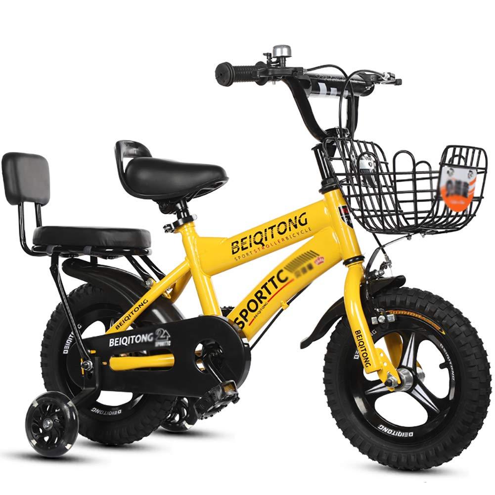 BAICHEN Bici per Bambini Bicicletta per Bambini con la Ruota di addestramento 14 12 16 18 Pollici Ragazzi e Ragazze in Bicicletta,4 Colorei Disponibili Adatto a Bambini 3-9 Anni,giallo,18inches