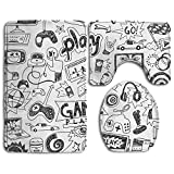 SarahKen Bathroom Rug Video Games Black And White Sketch Style Gaming Design Racing Monitor Device Gadget Teen 90s 3 Piece Bath Mat Set Contour Rug And Lid Cover