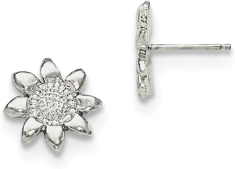 925 Sterling Silver Flower Mini Post Earrings