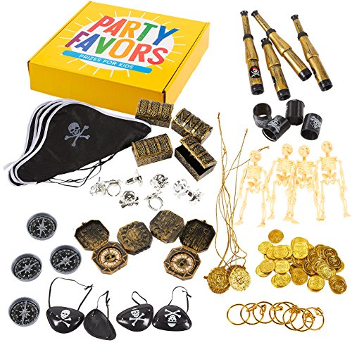 Juvale 100-Pack Pirate Party Favors - Pirate Theme Birthday Party Supplies, Favor Bag Pirate Decorations, Plastic Fake Coins, Pirate Stuff for Halloween, Carnival Prizes