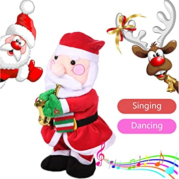 565c91e01d61c Fiaya Christmas Electric Dancing Singing Reindeer Santa Claus Trees Snowman  Xmas Santa Hat Super Soft Stuffed