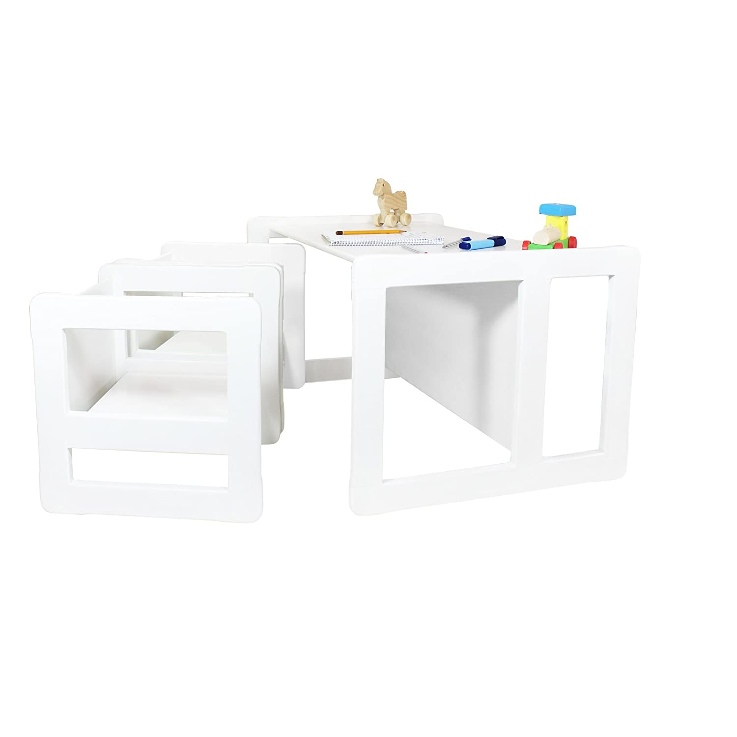 Obique 3 in 1 Children's Multifunctional Furniture Set of 3, Two Small Chairs Tables One Large Bench Table Beech Wood, White Stained OB_SET_O_00109
