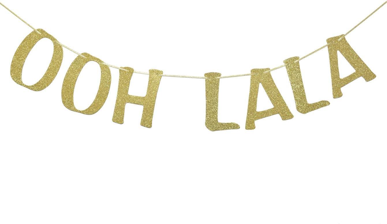 OOH LA LA Banner for Bachelorette Lingerie Showers Birthday Paris Themed Party Decor Bridal Showers Engagement Party Decorations Photo Props Gold Glitter