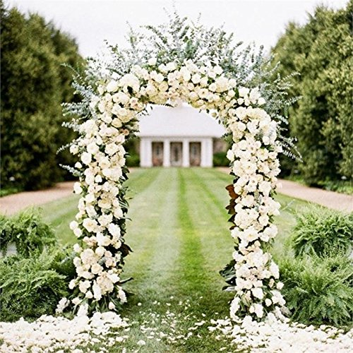 BalsaCircle White Decorative Metal Wedding Arch for Ceremony Outdoor Indoor Bridal Party Photo Booth Decorations -