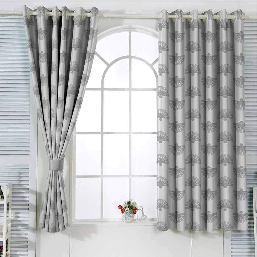 Cecilia Belle - Cortinas geométricas de 150 cm de largo, color gris y beige para puerta corredera de 150 x 163 cm, diseño de abanico, color pálido